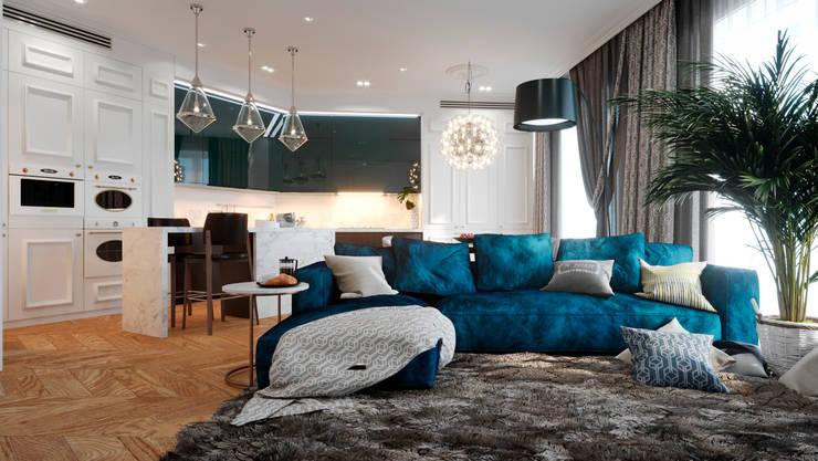 Апартаменты в ЖК Актер-Гэлэкси, в г. Сочи: Гостиная в . Автор – Dinastia Designs