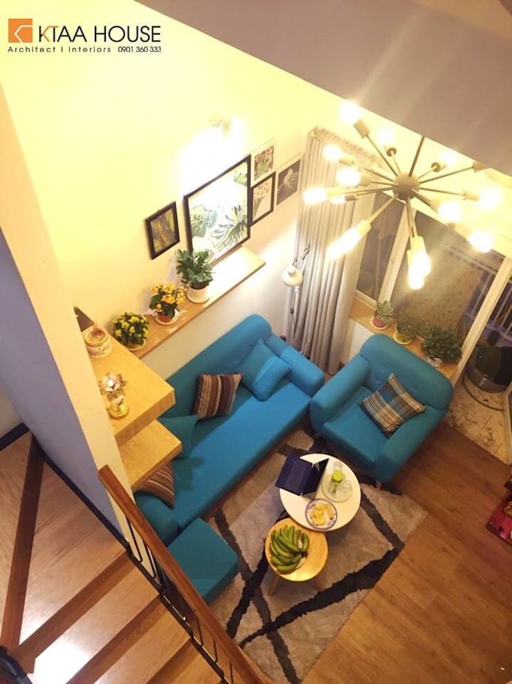 Căn hộ siêu tiết kiệm – Chung cư Ehome 2:  Phòng khách by KTAA HOUSE