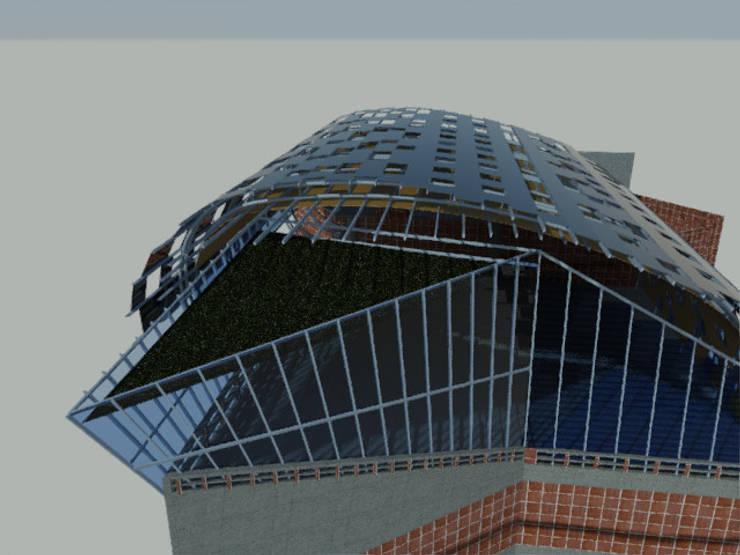 Propuesta arquitectónica, cubierta ecoeficiente para el anfiteatro en la terraza del edificio Módulo de Aulas de la Universidad Metropolitana:  de estilo  por JOSE RAFAEL FERERO ARQUITECTO