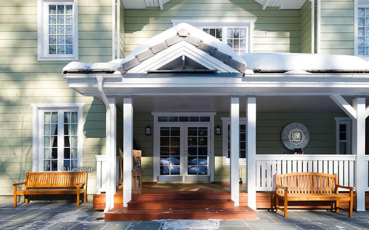 Входная дверь с террасой: Дома с террасами в . Автор – LUMI POLAR