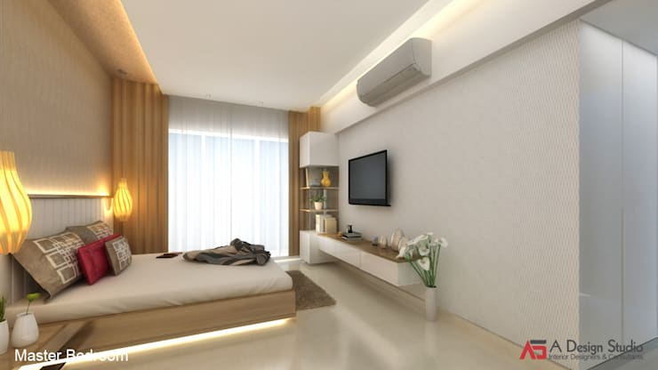 MASTER BEDROOM: modern Bedroom by A Design Studio