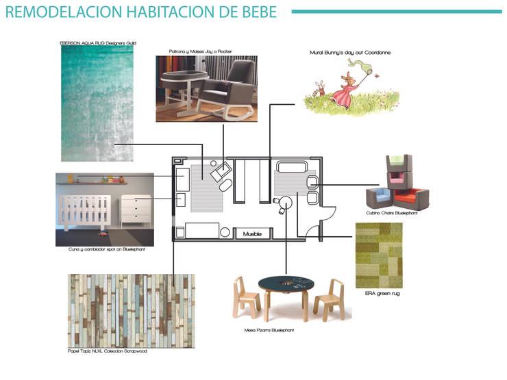 Diseño Interior Habitacion de bebe y cuarto de juegos: Dormitorios de bebé de estilo  por MM Design
