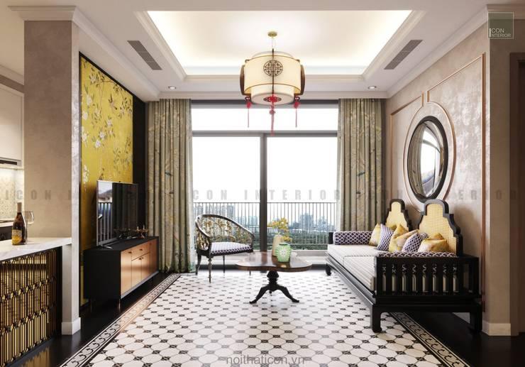 Nội thất căn hộ Vinhomes Central Park thiết kế theo phong cách Đông Dương:  Phòng khách by ICON INTERIOR
