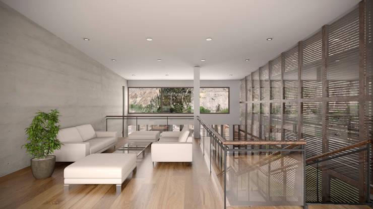Casa ''La Pendiente'': Salas de entretenimiento de estilo moderno por Artem arquitectura