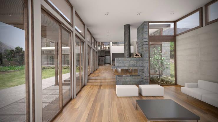 Casa ''La Pendiente'': Salas / recibidores de estilo moderno por Artem arquitectura