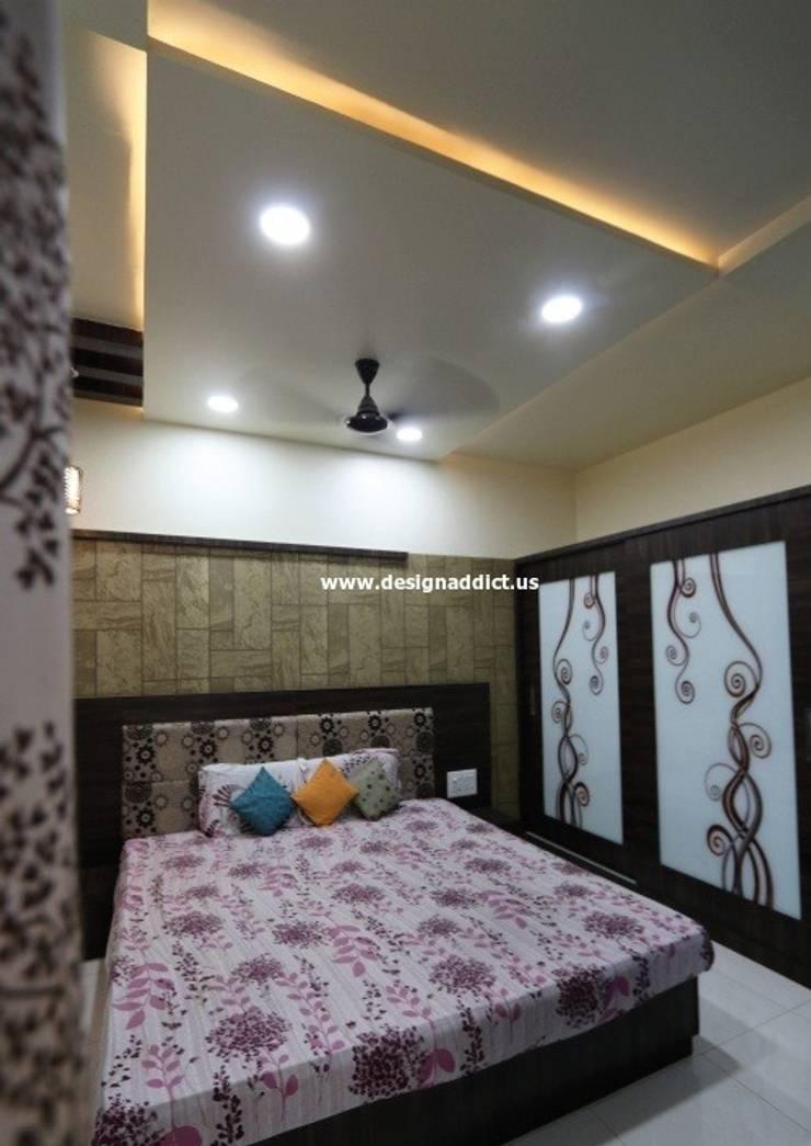 Row house interior design work in Pashan Pune:  Bedroom by Designaddict,Classic Glass
