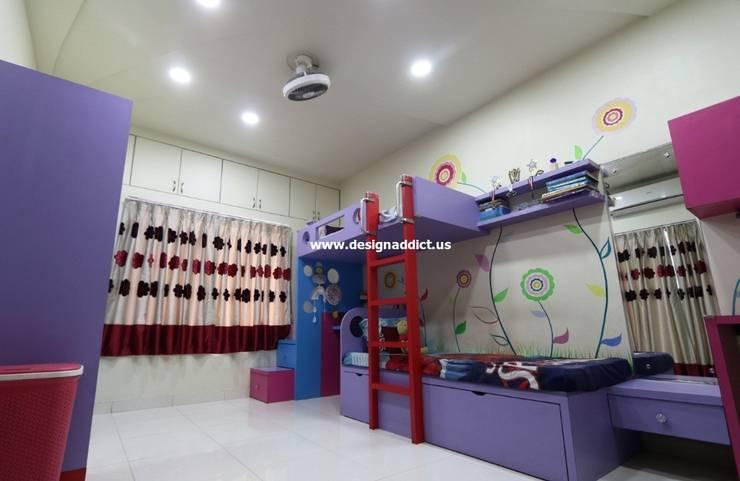 Row house interior design work in Pashan Pune:  Bedroom by Designaddict,Minimalist Wood Wood effect