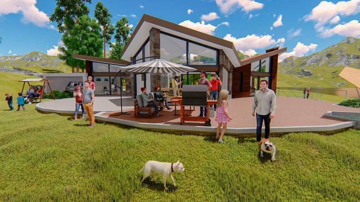 Casa Montes: Casas campestres de estilo  por ProyecTTo, Moderno Ladrillos