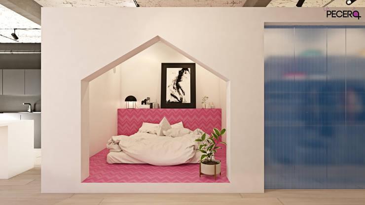 APARTAMENTO DE UN ARTISTA: Dormitorios de estilo  de La Pecera Estudio Creativo