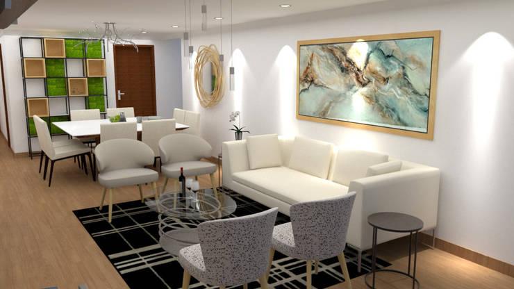 Diseño sala – comedor : Salas / recibidores de estilo  por DIS.OLIVER QUIJANO