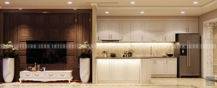 Phong cách Cổ điển trong thiết kế nội thất căn hộ Vinhomes Central Park:  Phòng khách by ICON INTERIOR