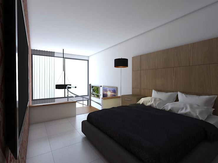 Vista Alcoba: Habitaciones de estilo  por Gliptica Design, Moderno Cerámico