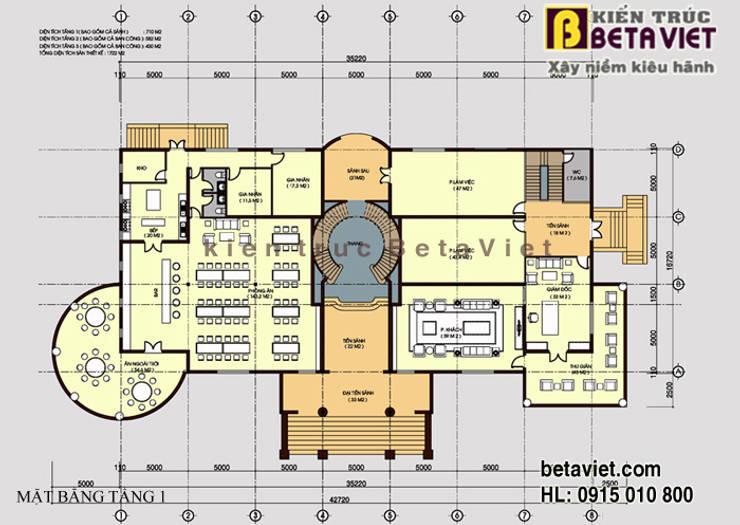 Mặt bằng tầng 1 dinh thự - biệt thự đẹp 3 tầng Tân cổ điển châu Âu hoành tráng (CĐT: Ông Hùng - Ninh Bình) BT13367:   by Công Ty CP Kiến Trúc và Xây Dựng Betaviet