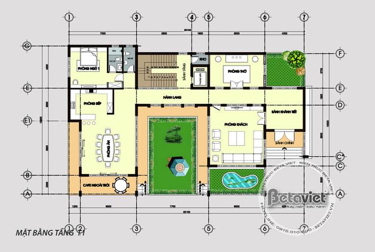 Mặt bằng tầng 1 mẫu biệt thự đẹp 3 tầng hiện đại hoành tráng phong cách châu Âu (CĐT: Ông Thắng - Thái Nguyên) KT17045:   by Công Ty CP Kiến Trúc và Xây Dựng Betaviet