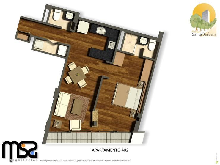 Apartamento tipo 1, cuarto piso: Casas de estilo  por MSA Arquitectos