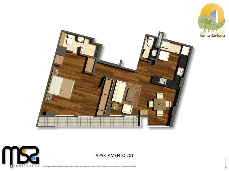 Apartamento tipo 2 genérico: Casas de estilo  por MSA Arquitectos
