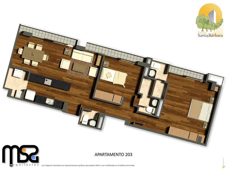 Apartamento tipo 4, cuarto piso: Casas de estilo  por MSA Arquitectos