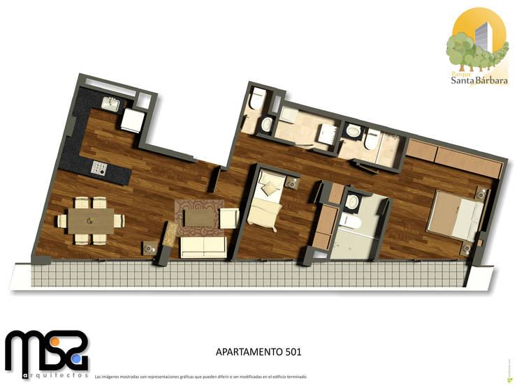 Penthouse 1: Casas de estilo  por MSA Arquitectos