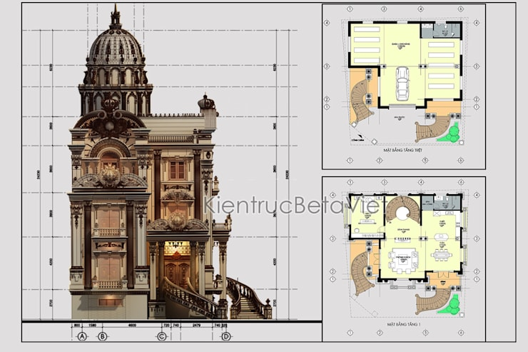 Mặt bằng tầng 2 mẫu lâu đài kiểu Pháp 3 tầng đẹp lung linh siêu hoành tráng (CĐT: Ông Vĩ - Bắc Ninh) BT16023:   by Công Ty CP Kiến Trúc và Xây Dựng Betaviet