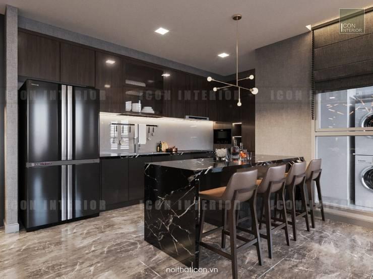Phong cách hiện đại trong thiết kế nội thất căn hộ Vinhomes Central Park:  Nhà bếp by ICON INTERIOR