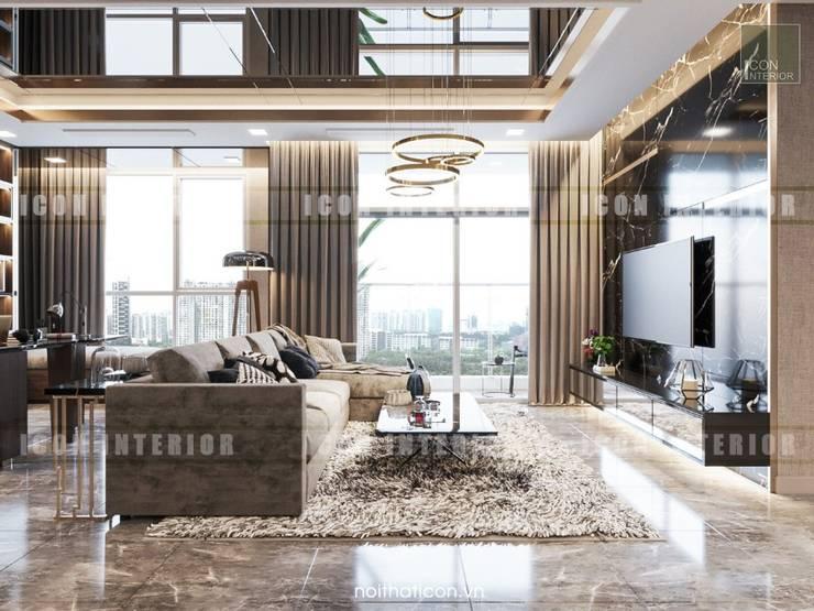 Phong cách hiện đại trong thiết kế nội thất căn hộ Vinhomes Central Park:  Phòng khách by ICON INTERIOR