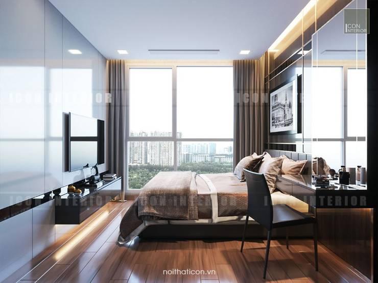 Phong cách hiện đại trong thiết kế nội thất căn hộ Vinhomes Central Park:  Phòng ngủ by ICON INTERIOR