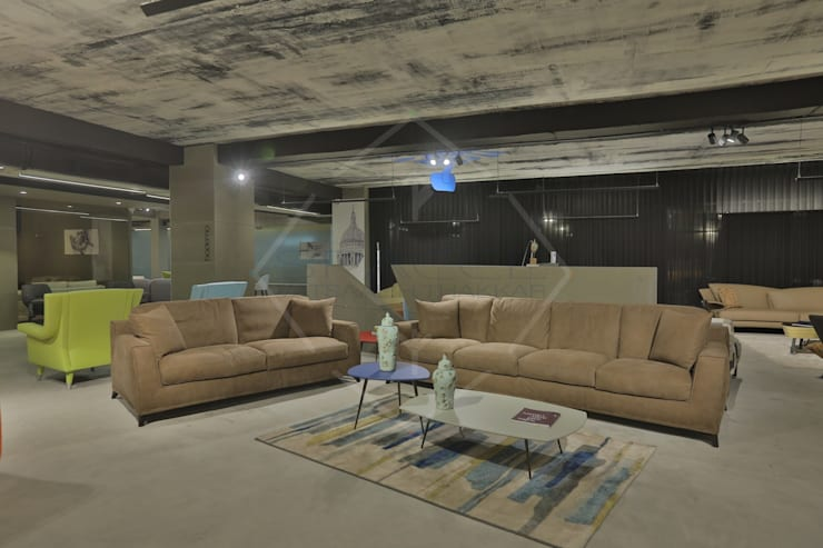 Premium italian furniture showroom:  Commercial Spaces by SPACCE INTERIORS,Modern