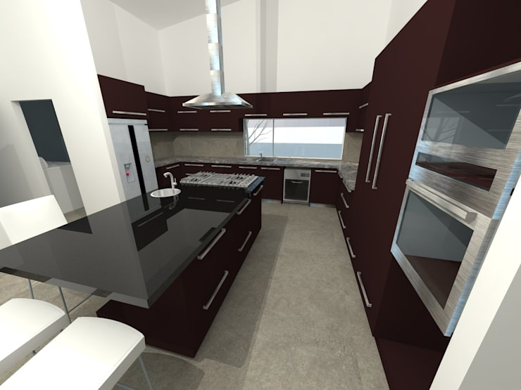 Render Cocina: Cocinas equipadas de estilo  por ARquitectura