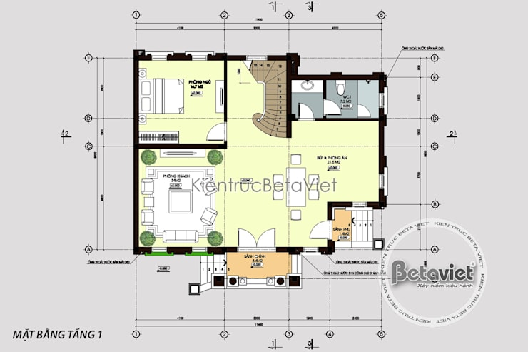 Mặt bằng tầng 1mẫu thiết kế biệt thự đẹp 3 tầng Cổ điển kiểu Pháp tráng lệ (CĐT:Ông Phú - Hà Nội) KT16462:   by Công Ty CP Kiến Trúc và Xây Dựng Betaviet