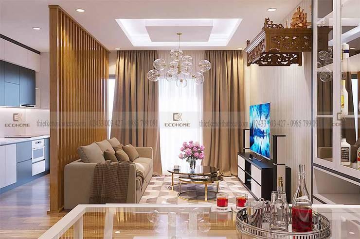 Hình ảnh thiết kế phòng khách chất liệu gỗ công nghiệp cao cấp:  Phòng khách by Công Ty TNHH Xây Dựng & Nội Thất ECO Việt Nam