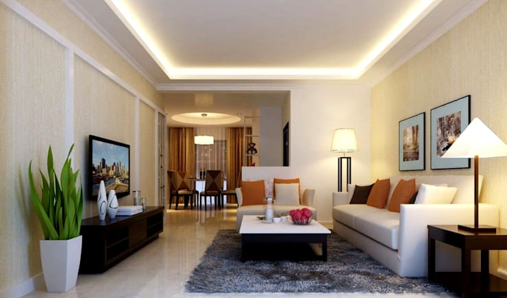 Interior:  Living room by Workz Services LLP