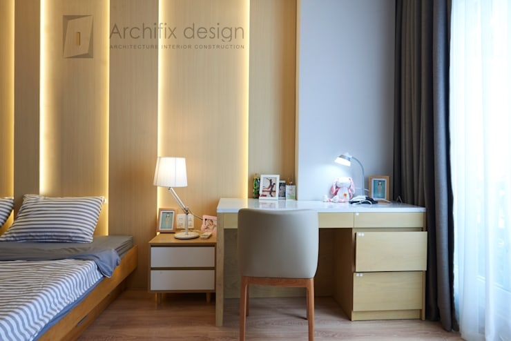 DỰ ÁN THIẾT KẾ THI CÔNG : CẢI TẠO NHÀ PHỐ - NHÀ Ở TƯ NHÂN:  Phòng ngủ by Archifix Design