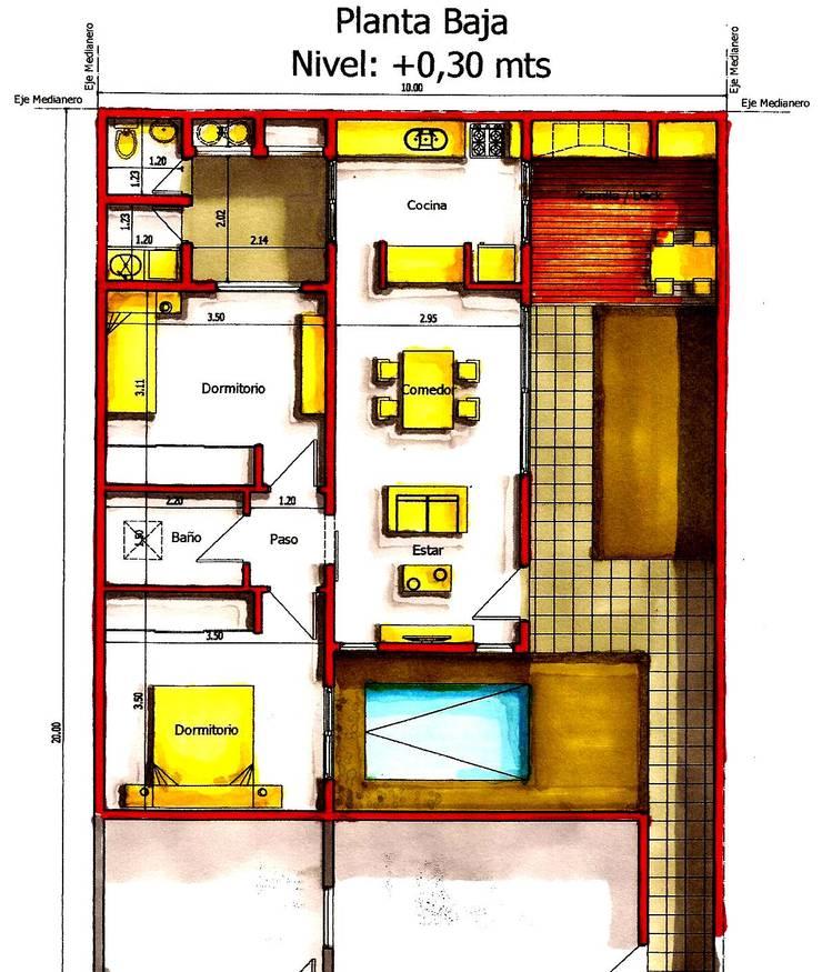 Plano de Anteproyecto: Casas unifamiliares de estilo  por I.S. ARQUITECTURA