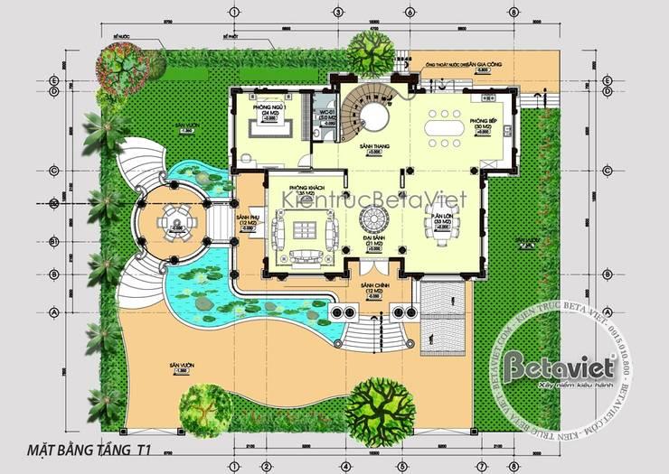 Mặt bằng tầng 1 mẫu thiết kế dinh thự Pháp Tân cổ điển 3 tầng tráng lệ hoành tráng (CĐT: Ông Thanh - Bắc Ninh) KT16128:   by Công Ty CP Kiến Trúc và Xây Dựng Betaviet