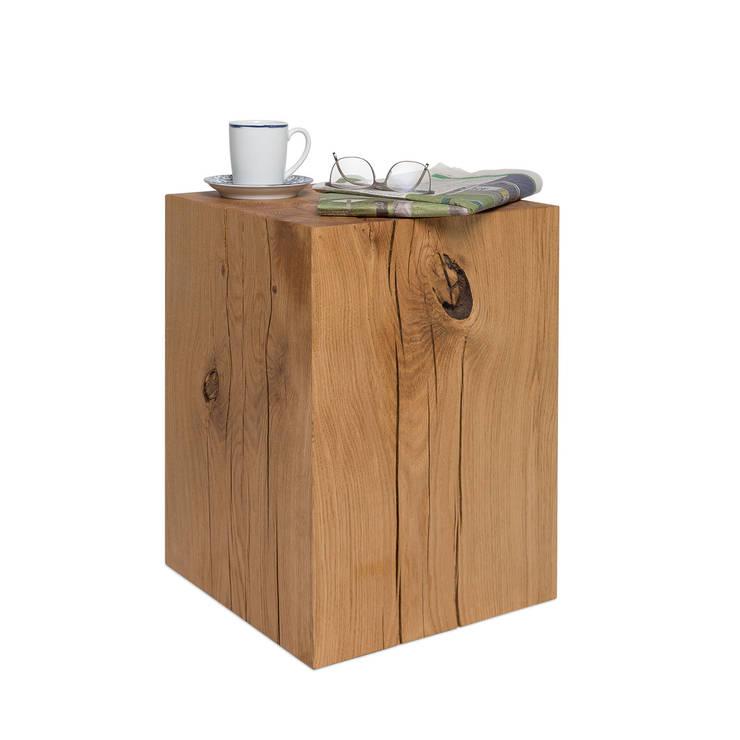 Mobelmanufaktur Greenhaus Holzblock Hocker Aus Eiche Massivholz