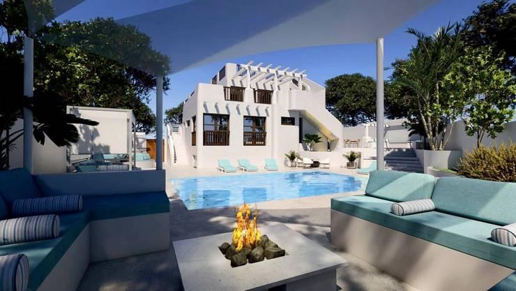 Exterior y piscina: Piscinas de estilo  de Pacheco & Asociados