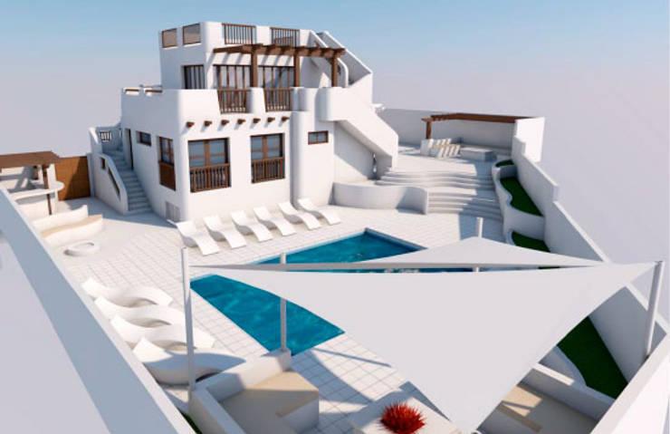 Exterior y piscina: Casas de estilo  de Pacheco & Asociados