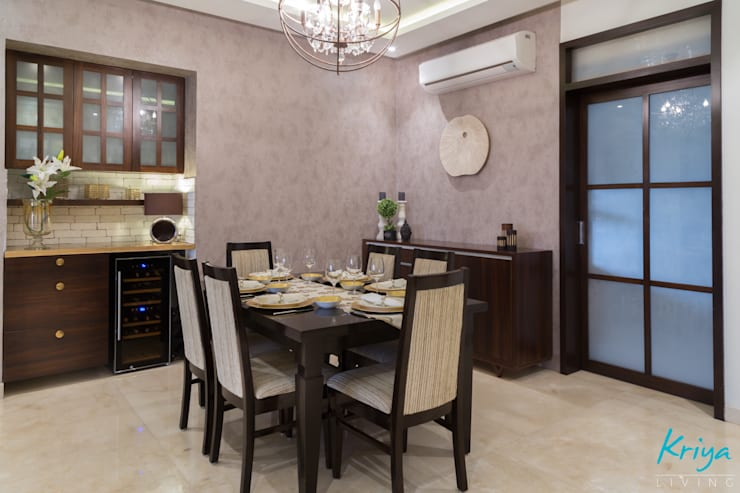 3 BHK Apartment - Raheja Pebble Bay:  Dining room by KRIYA LIVING