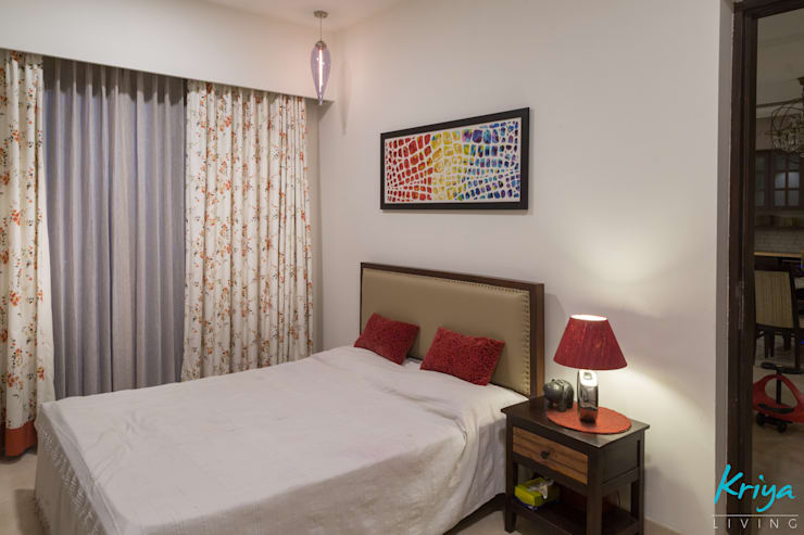 3 BHK Apartment - Raheja Pebble Bay:  Bedroom by KRIYA LIVING