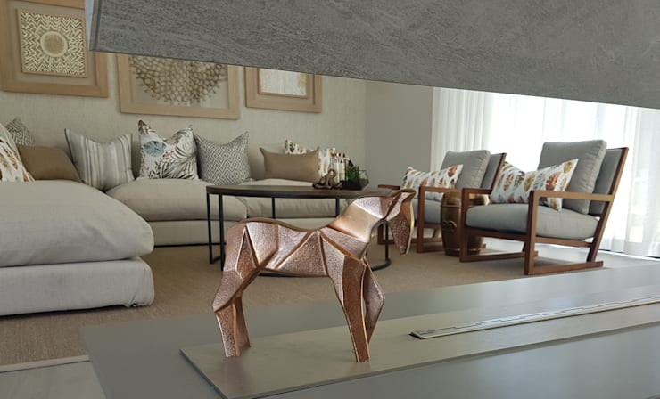 Copper & Grey Tones:  Living room by Sophistique Interiors, Modern