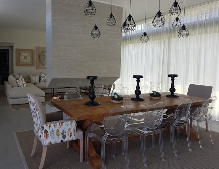 Copper & Grey Tones:  Dining room by Sophistique Interiors, Modern