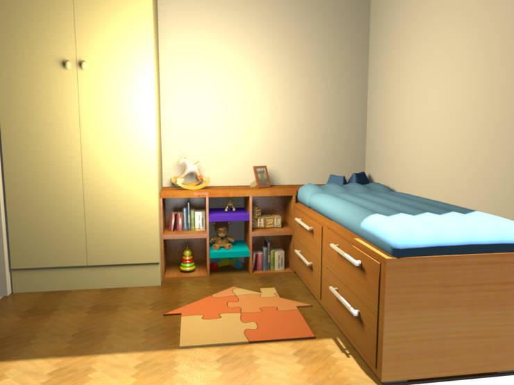 Un dormitorio que se  transforma con los años: Dormitorios infantiles de estilo  por Minimalistika.com, Minimalista Madera maciza Multicolor