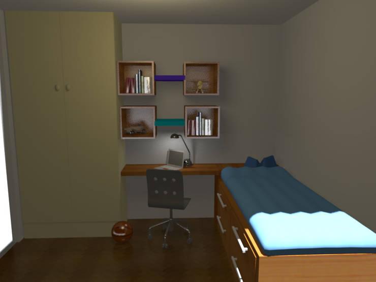 Un dormitorio que se  transforma con los años: Dormitorios juveniles  de estilo  por Minimalistika.com, Minimalista Madera maciza Multicolor