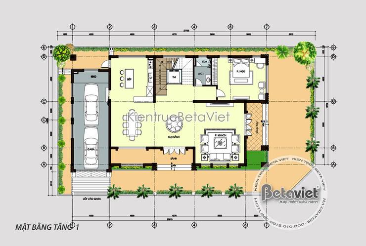 Mặt bằng tầng 1 mẫu thiết kế biệt thự - dinh thự đẹp 3 tầng Hiện đại (CĐT: Bà Dung - Hải Dương) KT17052:   by Công Ty CP Kiến Trúc và Xây Dựng Betaviet