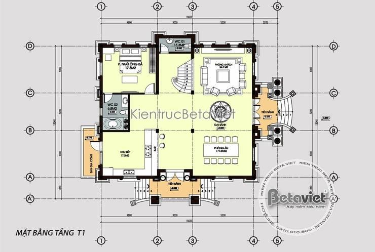 Mặt bằng tầng 1 mẫu thiết kế biệt thự đẹp cổ điển kiểu Pháp 3 tầng tráng lệ (CĐT: Ông Tuấn - Hưng Yên) KT17156:   by Công Ty CP Kiến Trúc và Xây Dựng Betaviet