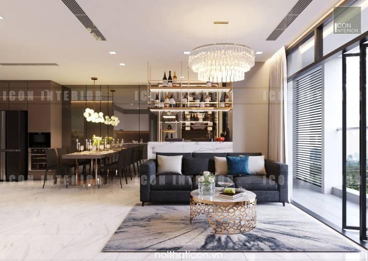 Nội thất Châu Âu hiện đại trong căn hộ Vinhomes Central Park:  Phòng khách by ICON INTERIOR