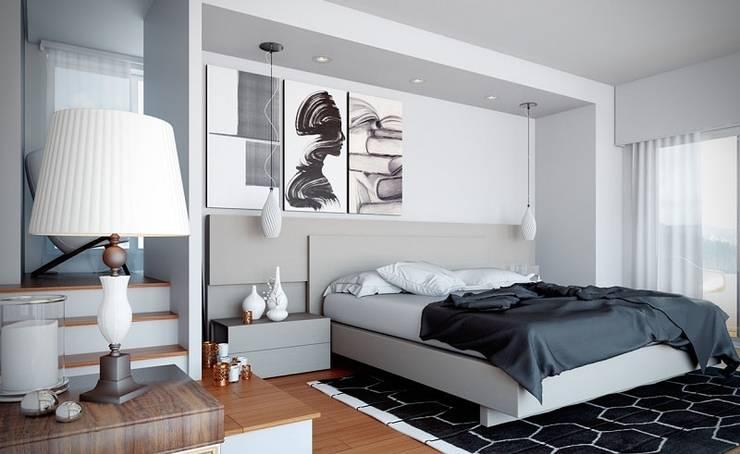 Phòng ngủ với 2 gam màu đen trắng hiện đại:  Phòng ngủ by Thương hiệu Nội Thất Hoàn Mỹ