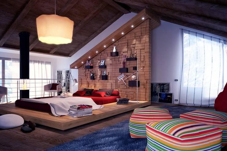 Thiết kế phòng ngủ liền phòng khách:  Phòng ngủ by Thương hiệu Nội Thất Hoàn Mỹ