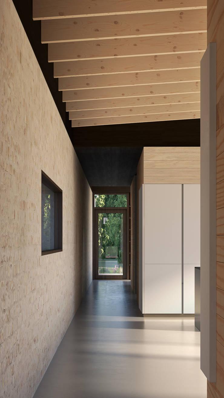 doorkijk naar groen:  Gang en hal door STAAG architecten, Landelijk Glas