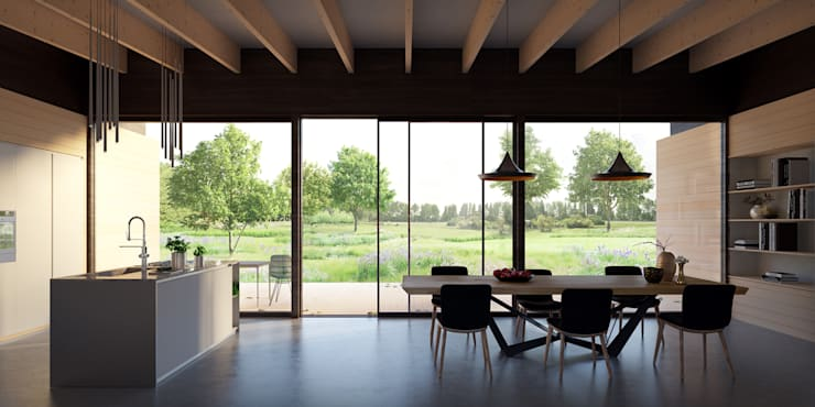 uitzicht tuinkamer:  Eetkamer door STAAG architecten, Landelijk Hout Hout